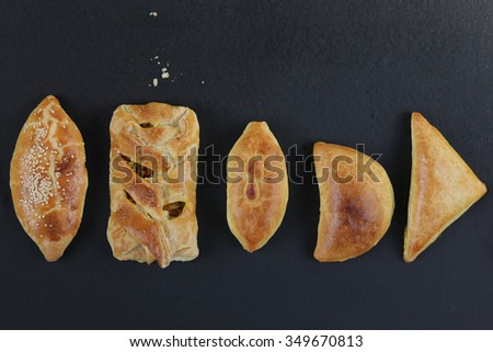 Fresh baked pasties filled with chicken,meat,mushrooms,spinach and cabbage