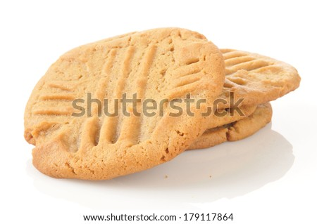 Fresh baked peanut butter cookies on a white background