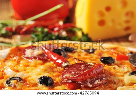 fresh baked pizza with  different ingredients