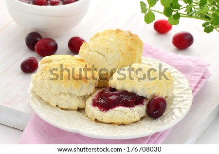 Fresh baked scones with homemade cranberry jam
