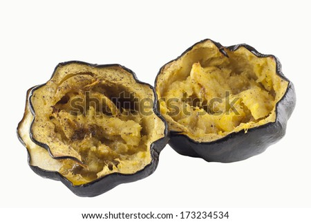 Fresh baked squash isolate on a white background.