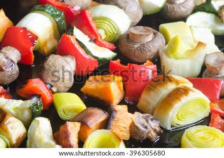fresh baked vegetables from oven - stock photo