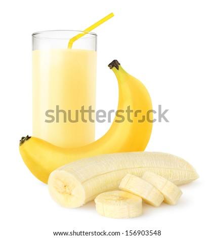 Fresh banana shake isolated on white - stock photo