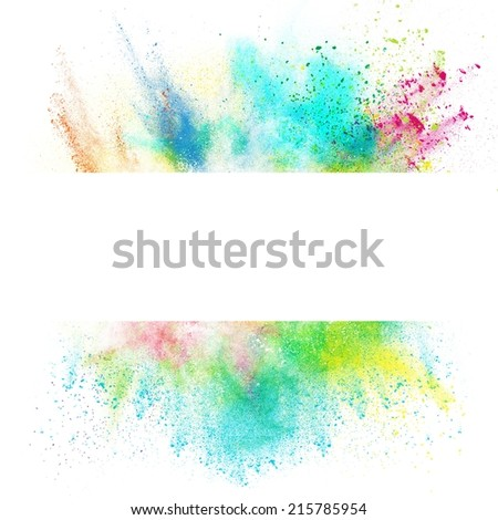 Fresh banner with colorful splash effect on white background - stock photo