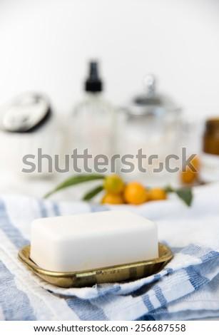 Fresh Bar of Artisan Soap in Vintage Box - stock photo