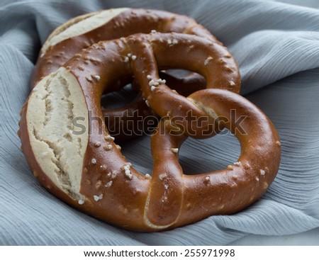 Fresh Bavarian pretzel - stock photo