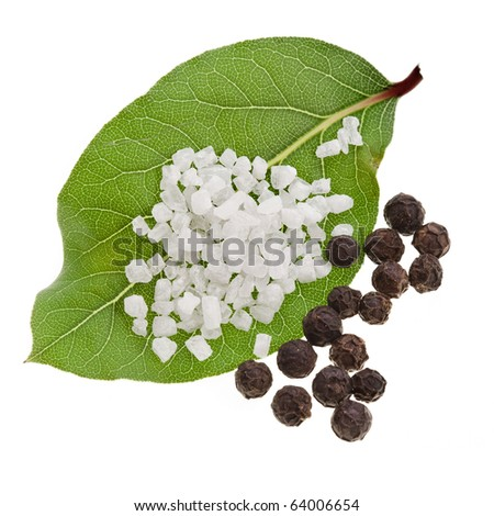 fresh bay laurel leaf with peppercorn and salt close up macro shot  isolated on white - stock photo