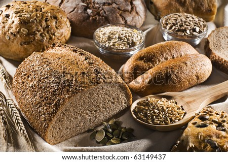 Fresh beautiful mixed bread close up shoot - stock photo