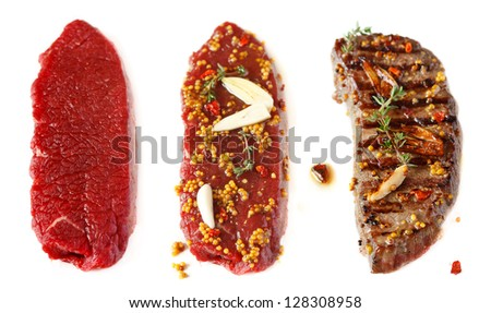 Fresh beef meat before and after grill. - stock photo