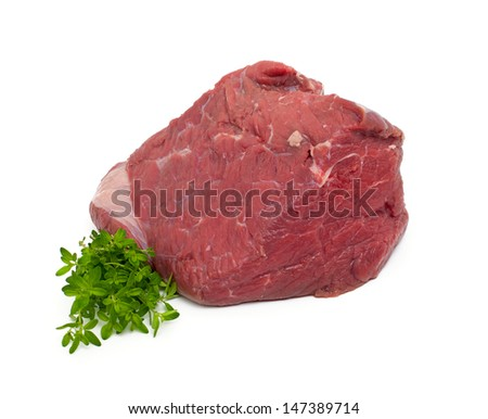 fresh beef meat with thyme isolated on white background - stock photo