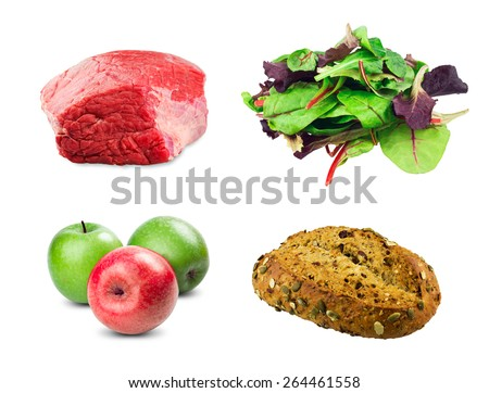 fresh beef slab, Mixed salad baby red leaf, baby spinach & red chard, Cranberry Pumpkin Bread , Red, Green apples on white background.  - stock photo
