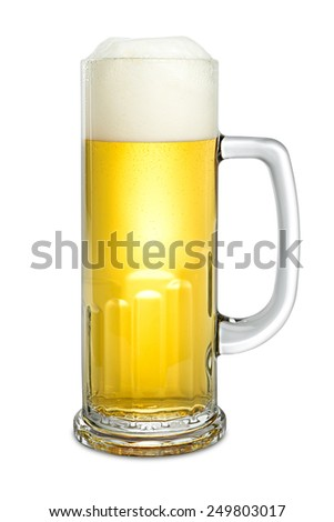 fresh beer in mug on white background