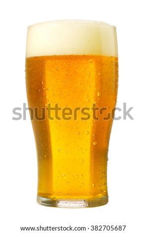 fresh beer on white background