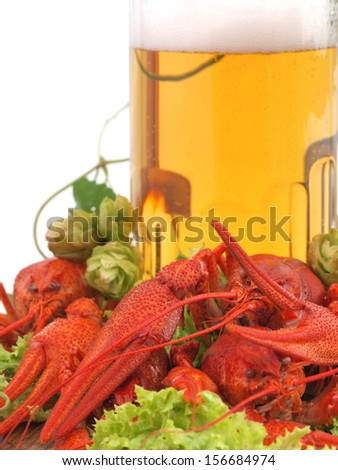 Fresh beer with crayfish      - stock photo