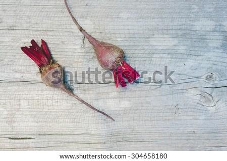 Fresh beetroot (Beta vulgaris), top view - stock photo