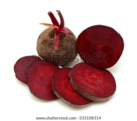 Fresh beetroot with slice isolated on white background