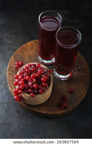 Fresh berries drink and bowl with frosty red currant