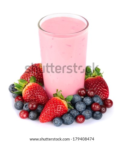 Fresh berries fruit and smoothies on white . Blueberries, cranberries, strawberries. - stock photo