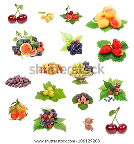 fresh berries in paper form isolated on white background collage - stock photo