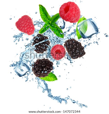 Fresh berries in water splash. Isolated on white background. - stock photo