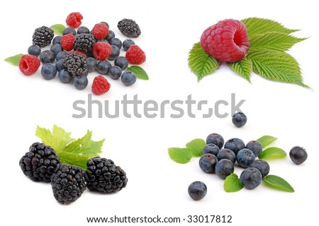 Fresh Berries on white background, collection.  Ripe Sweet Strawberry, Raspberry, Blueberry, Blackberry. Healthy fruits.