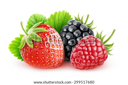Fresh berries (strawberry, raspberry and blackberry fruits) with leaf isolated on white background with clipping path - stock photo