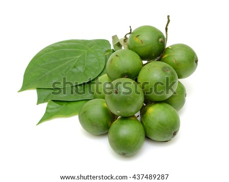 fresh betel nut and betel leaf isolated on white background