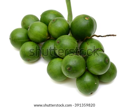 fresh Betel nut fruits isolated on white background