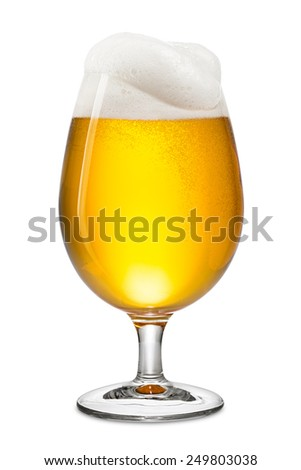 fresh bier in tulip on white background - stock photo
