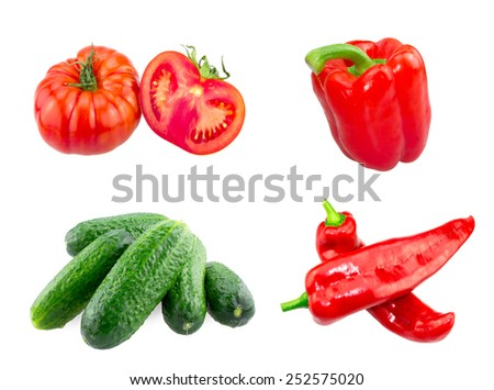 Fresh Big Tomatoes , Red and Ramiro Peppers , Cucumbers isolated on white background - stock photo