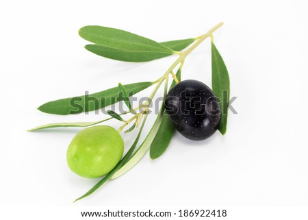 Fresh black and green olives isolated on white background