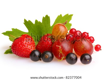 Fresh black and red currant and leaves isolated on a white