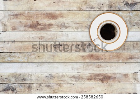 fresh black coffee on a table - stock photo