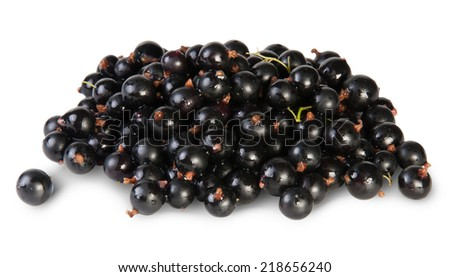 Fresh Black Currant Rotated Isolated On White Background - stock photo