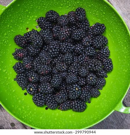 Fresh blackberries in a strainer - stock photo