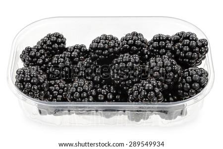 Fresh blackberries in fruit box - stock photo