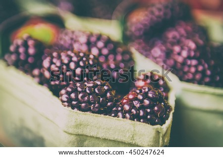 Fresh blackberry at market in paper boxes, local food organic healthy background in vintage hipster style - stock photo