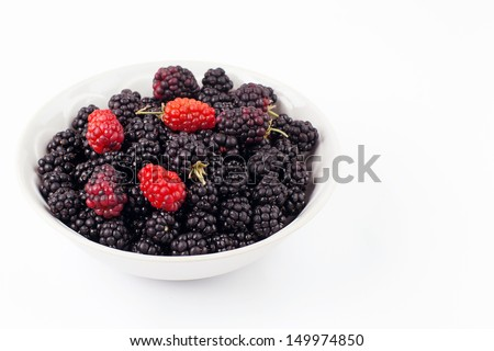 Fresh Blackberry In White Bowl Isolated On White Background