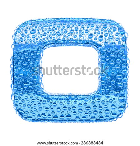 Fresh Blue alphabet symbol - digit 1. Water splashes and drops on transparent glass. Isolated on white - stock photo