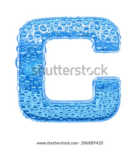 Fresh Blue alphabet symbol - letter C. Water splashes and drops on transparent glass. Isolated on white - stock photo