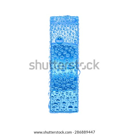 Fresh Blue alphabet symbol - letter I. Water splashes and drops on transparent glass. Isolated on white