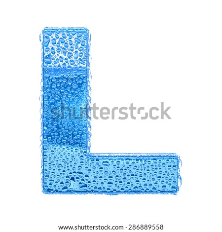 Fresh Blue alphabet symbol - letter L. Water splashes and drops on transparent glass. Isolated on white - stock photo