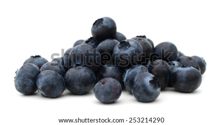 fresh blueberries closeup isolated on white - stock photo