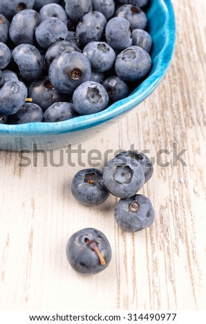 Fresh blueberries in a rustic blue bowl on a wooden table