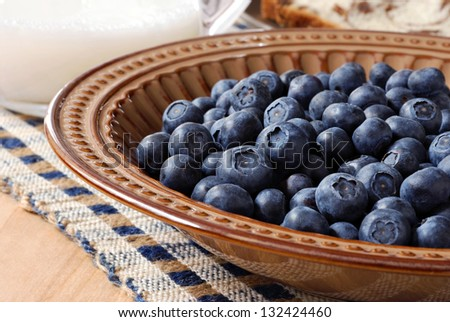 Fresh blueberries in decorative bowl at the breakfast table.  Pitcher of milk and homemade bread visible in background.  Macro with shallow dof. - stock photo