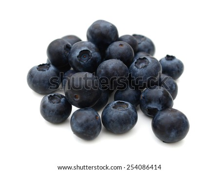 fresh blueberries isolated on white - stock photo