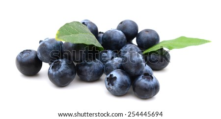 fresh blueberries on white background - stock photo