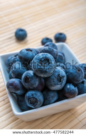 fresh blueberry was beautiful is photographed in a plate in studio