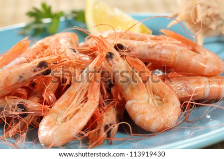 fresh boiled prawns from portuguese coast - stock photo