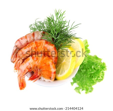 Fresh boiled prawns with dill and lemon in a blue round bowl on white background isolated - stock photo